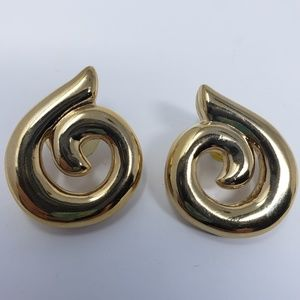 Givenchy gold tone swirl pierced earrings